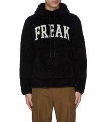 'freak' slogan intarsia fleece hoodie