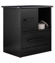 mesa de cabeceira 1 porta 1 gaveta stilo preto - albatroz
