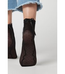 calzedonia women's pretty sheer socks woman black size tu