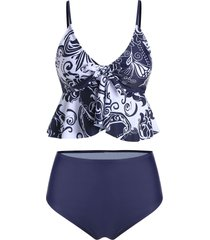 bowknot high waisted skirted tankini swimsuit