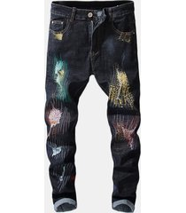 stampa hip-hop design colorful fori jeans per uomo