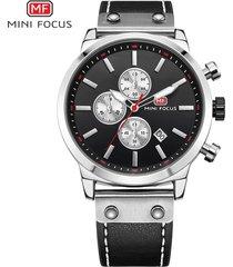 reloj para hombre/correa de piel/ mini focus / 0110g / reloj-negro