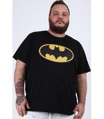 camiseta masculina plus size batman manga curta gola careca preta
