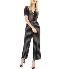 monteau petite button-front striped jumpsuit