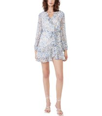 women's bardot floral triple frill long sleeve dress, size x-small - blue