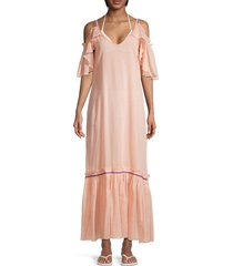 pitusa women's camille ruffled dress - peach - size standard (m-l-xl)