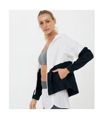 jaqueta esportiva corta vento colorblock com capuz | get over | branco | p