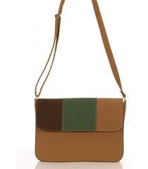 bolsa feminina transversal em couro caramelo tricolor