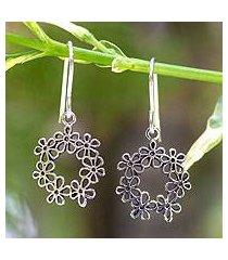 sterling silver flower earrings, 'floral tiara' (thailand)