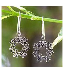 sterling silver flower earrings, 'floral tiara' (thailand)