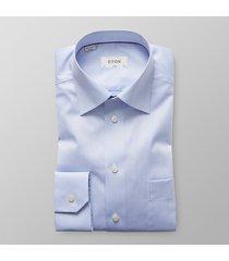 eton heren overhemd licht borstzak signature twill classic fit blauw