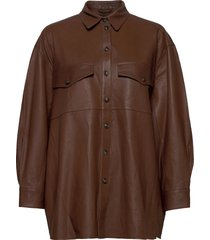 agnes thin leather shirt overshirts bruin mdk / munderingskompagniet