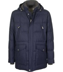 brunello cucinelli water-resistant lightweight wool, silk and cashmere flannel down jacket with detachable hood blue