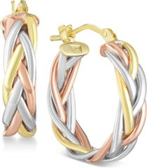 tricolor braided hoop earrings in 14k gold, white gold & rose gold