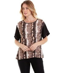 blusa kinara animal print feminina