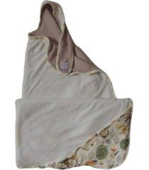 toalha avental para bebê dupla com capuz colo de mãe floresta creme e castor
