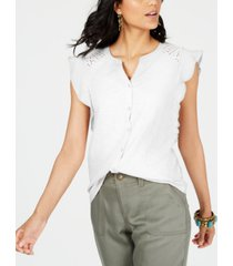 style & co petite cotton flutter-sleeve eyelet top, created for macy's