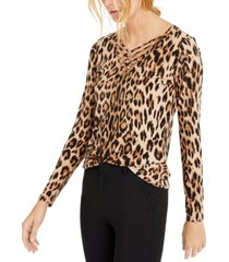 inc petite leopard-print strappy-neck top, created for macy's