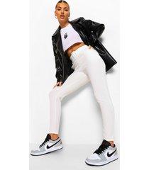 stretch cigarette-broek met hoge taille en ceintuur, white