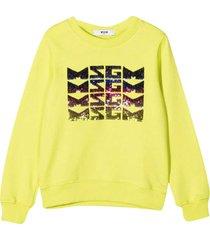 msgm yellow sweathirt with frontal logo