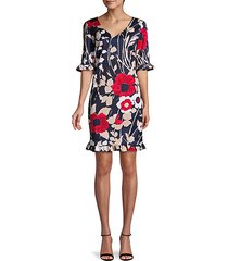 floral flounce-trim dress