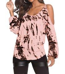 yoins rosa camiseta con dobladillo curvo de manga larga y hombros descubiertos