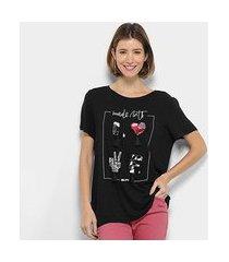 camiseta my favorite thing (s) bordada apliques feminina