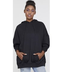 poleron hoodie canguro oversize negro corona