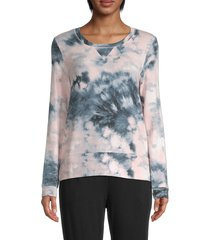 for the republic women's tie-dyed roundneck sweatshirt - pink navy - size l