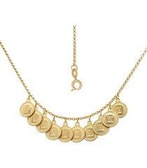 gargantilha prata mil com 10 mandamentos e alongador de 5cm dourado