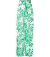 foliage print palazzo pants