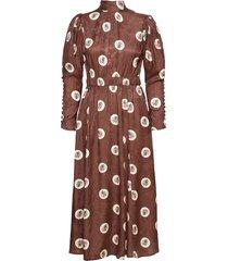 jacquard midi dress jurk knielengte bruin by ti mo