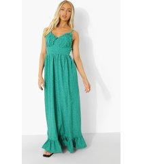 maxi jurk met stippen, geplooide buste en geplooide zoom, green