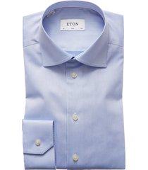 men's eton slim fit twill dress shirt, size 16.5 - blue