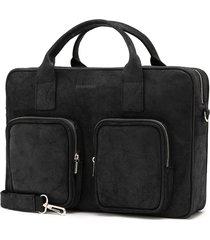 czarna skórzana torba na laptop brodrene