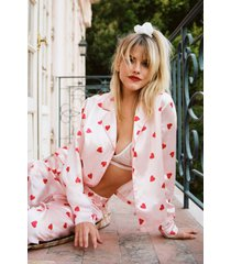 womens love of your own life heart pajama pants set - champagne