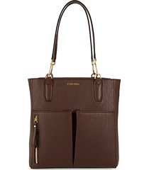 top zip faux leather tote