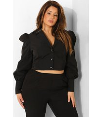 plus getailleerde blouse met pofmouwen, black