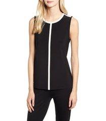 anne klein stripe outline sleeveless top, size xx-small in anne black/anne white at nordstrom