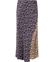 chinti and parker patchwork floral print skirt - black