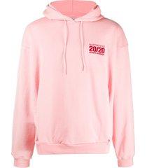 martine rose embroidered logo hoodie - pink