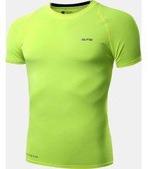 t-shirt manica corta da uomo idoneità t-shirt top traspirante ad asciugatura rapida elasticizzata alta elasticità