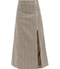 cocorico checked cotton-blend skirt