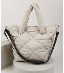 bolsa de ombro feminina shopper em nylon grande puffer bege claro