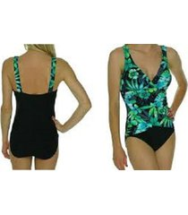 tropical honey one piece sz 12 black green multi tropical ruched tank swimsuit
