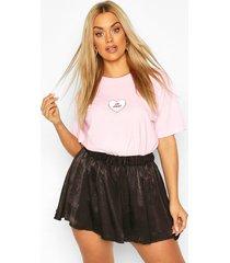 plus go away heart slogan t-shirt, light pink