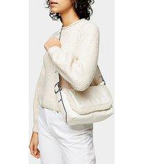 grey vinyl and borg shoulder bag - grey