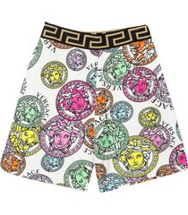 young versace multicolor print shorts