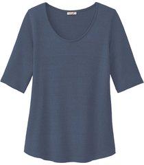 shirt met korte mouwen van bourette zijdenjersey, oceaan 44/46