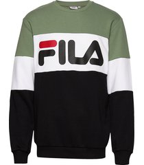 men straight blocked crew sweat-shirt trui groen fila
